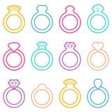 Εικονίδια γαμήλιων δαχτυλιδιών Στοκ Εικόνες