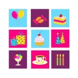 Εικονίδια γενεθλίων, εορτασμού και κομμάτων Στοκ φωτογραφία με δικαίωμα ελεύθερης χρήσης