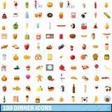 100 εικονίδια γευμάτων καθορισμένα, ύφος κινούμενων σχεδίων Στοκ Εικόνες