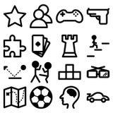 Εικονίδια για τα παιχνίδια υπολογιστών και playstation Στοκ Φωτογραφίες