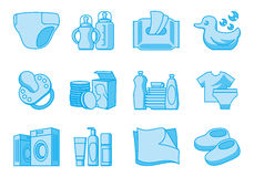 Εικονίδια για τις νεογέννητες και προμήθειες μητέρων Στοκ Εικόνες