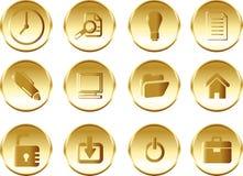 Εικονίδια για τον Ιστό στη χρυσή διακόσμηση πολυτέλειας Στοκ φωτογραφία με δικαίωμα ελεύθερης χρήσης