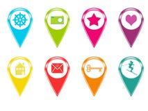Εικονίδια για τους δείκτες στους χάρτες Στοκ φωτογραφία με δικαίωμα ελεύθερης χρήσης