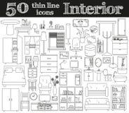 50 εικονίδια για το εσωτερικό Λεπτό σύνολο γραμμών Στοκ φωτογραφία με δικαίωμα ελεύθερης χρήσης