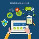 Εικονίδια για το κινητές μάρκετινγκ και την ασφάλεια on-line Στοκ εικόνες με δικαίωμα ελεύθερης χρήσης