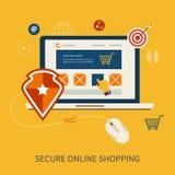 Εικονίδια για το κινητό μάρκετινγκ και ασφαλή σε απευθείας σύνδεση απεικόνιση αποθεμάτων