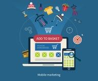 Εικονίδια για το κινητό μάρκετινγκ και on-line τις αγορές διανυσματική απεικόνιση