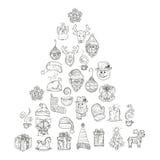 Εικονίδια για το νέα έτος και τα Χριστούγεννα Στοκ εικόνα με δικαίωμα ελεύθερης χρήσης