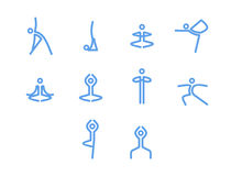 Εικονίδια γιόγκας, μονο διανυσματικά σύμβολα Στοκ φωτογραφίες με δικαίωμα ελεύθερης χρήσης