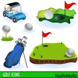 εικονίδια γκολφ Στοκ Φωτογραφία