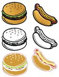 Εικονίδια γρήγορου φαγητού Στοκ Εικόνες