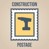Εικονίδια γραμματοσήμων των σκιαγραφιών των εργαλείων κατασκευής κατσαβίδι Στοκ εικόνα με δικαίωμα ελεύθερης χρήσης