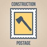 Εικονίδια γραμματοσήμων των σκιαγραφιών των εργαλείων κατασκευής περικομμένος Στοκ Εικόνα