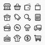 Εικονίδια γραμμών αγορών στο άσπρο υπόβαθρο - διανυσματική απεικόνιση Στοκ εικόνα με δικαίωμα ελεύθερης χρήσης