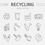 Εικονίδια γραμμών ανακύκλωσης Ταξινομώντας σύνολο αποβλήτων διάνυσμα στοκ φωτογραφία