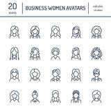 Εικονίδια γραμμών ανθρώπων, είδωλα επιχειρησιακών γυναικών Σύμβολα περιλήψεων των γυναικείων επαγγελμάτων, γραμματέας, διευθυντής απεικόνιση αποθεμάτων