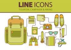 Εικονίδια γραμμών αποθεμάτων καθορισμένα Πεζοπορία, ταξίδι και διακοπές Στοκ εικόνες με δικαίωμα ελεύθερης χρήσης