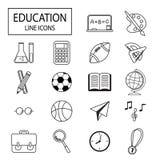 Εικονίδια γραμμών εκπαίδευσης καθορισμένα Στοκ Εικόνες