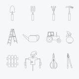 Εικονίδια γραμμών εργαλείων κηπουρικής καθορισμένα διάνυσμα Στοκ φωτογραφία με δικαίωμα ελεύθερης χρήσης