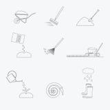 Εικονίδια γραμμών εργαλείων κηπουρικής καθορισμένα διάνυσμα Στοκ Εικόνες