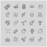 Εικονίδια γραμμών - διάστημα, σύνολο αστρονομίας Στοκ Εικόνες