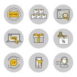 Εικονίδια γραμμών καθορισμένα Αγορές, μάρκετινγκ Στοκ Εικόνες