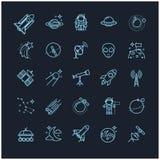 Εικονίδια γραμμών καθορισμένα - διάστημα, αστρονομία Στοκ Εικόνες