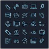 Εικονίδια γραμμών καθορισμένα - συσκευές, συσκευές, ηλεκτρονικές Στοκ Εικόνα