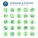 Εικονίδια γραμμών κηπουρικής, φύτευσης και δενδροκηποκομίας Εξοπλισμός κήπων, οργανικοί σπόροι, λίπασμα, θερμοκήπιο, pruners ελεύθερη απεικόνιση δικαιώματος