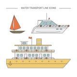 Εικονίδια γραμμών μεταφορών νερού απεικόνιση αποθεμάτων