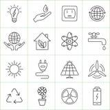 Εικονίδια γραμμών οικολογίας και ενέργειας Στοκ φωτογραφία με δικαίωμα ελεύθερης χρήσης