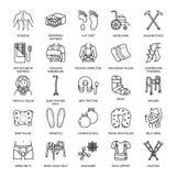 Εικονίδια γραμμών ορθοπεδικής, αποκατάστασης τραύματος Δεκανίκια, μαξιλάρι στρωμάτων ορθοπεδικής, αυχενικό περιλαίμιο, περιπατητέ διανυσματική απεικόνιση