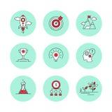 Εικονίδια γραμμών που τίθενται για την επιχείρηση, ξεκίνημα, διαχείριση απεικόνιση αποθεμάτων