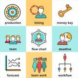 Εικονίδια γραμμών που τίθενται με τα επίπεδα στοιχεία σχεδίου της διαχείρισης επιχειρηματιών απεικόνιση αποθεμάτων