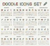 Εικονίδια γραμμών σχεδίων χεριών Διανυσματικό σύνολο εικονογραμμάτων doodle Στοκ φωτογραφία με δικαίωμα ελεύθερης χρήσης