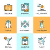 Εικονίδια γραμμών ταξιδιού και διακοπών καθορισμένα ελεύθερη απεικόνιση δικαιώματος