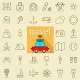Εικονίδια γραμμών ταξιδιού και τουρισμού καθορισμένα επίσης corel σύρετε το διάνυσμα απεικόνισης Στοκ Εικόνα