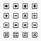 Εικονίδια γραμμών του Media Player στο άσπρο υπόβαθρο - διανυσματική απεικόνιση Στοκ Εικόνες