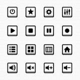 Εικονίδια γραμμών του Media Player στο άσπρο υπόβαθρο - διανυσματική απεικόνιση Στοκ Φωτογραφία