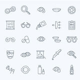 Εικονίδια γραμμών υγείας ματιών διορθώσεων οράματος οπτομετρίας οφθαλμολόγων καθορισμένα Στοκ εικόνα με δικαίωμα ελεύθερης χρήσης