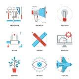 Εικονίδια γραμμών υπηρεσιών σχεδίου προϊόντων καθορισμένα Στοκ φωτογραφία με δικαίωμα ελεύθερης χρήσης