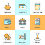 Εικονίδια γραμμών χρηματοδότησης και χρημάτων καθορισμένα Στοκ Εικόνες