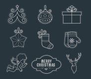 Εικονίδια γραμμών Χριστουγέννων Στοκ εικόνα με δικαίωμα ελεύθερης χρήσης