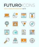 Εικονίδια γραμμών futuro βελτιστοποίησης SEO και Ιστού