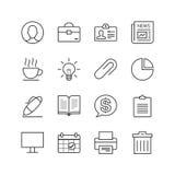 Εικονίδια γραφείων & μάρκετινγκ - διανυσματική απεικόνιση, εικονίδια γραμμών καθορισμένα Στοκ Εικόνες