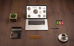 Εικονίδια γραφικών παραστάσεων διαγραμμάτων πιτών στην οθόνη lap-top με τα εξαρτήματα γραφείων Στοκ εικόνες με δικαίωμα ελεύθερης χρήσης