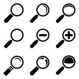 Εικονίδια γυαλιού Magnifier Στοκ εικόνα με δικαίωμα ελεύθερης χρήσης