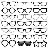 Εικονίδια γυαλιών στο άσπρο υπόβαθρο Στοκ Φωτογραφία