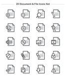 Εικονίδια εγγράφων & αρχείων καθορισμένα, εικονίδια πάχους γραμμών Στοκ Φωτογραφία