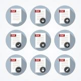 Εικονίδια εγγράφων Pdf καθορισμένα Στοκ εικόνες με δικαίωμα ελεύθερης χρήσης